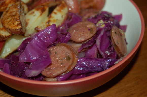 Sausage and Red Cabbage Sauté with a side of Vinegar Roasted Potatoes