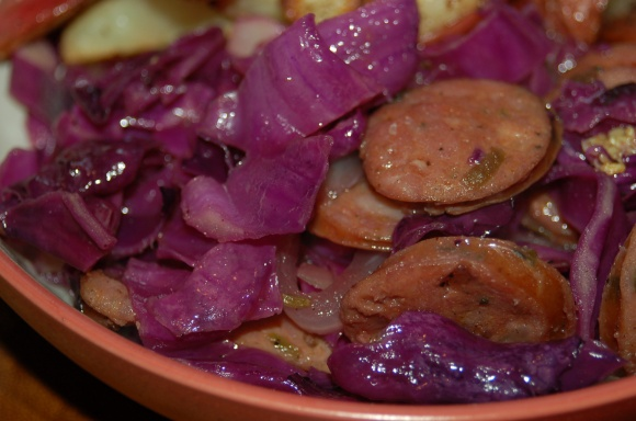 Sausage and Red Cabbage Sauté