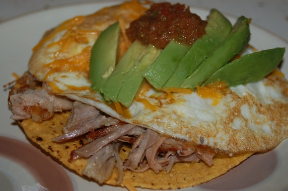 Shredded Pork Huevos Tostada
