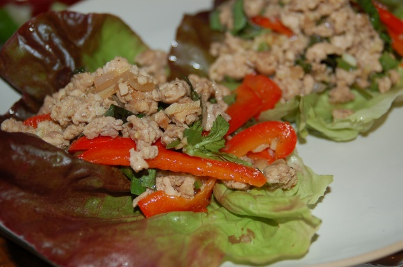 Thai Chicken Lettuce Wraps.  Delicious!