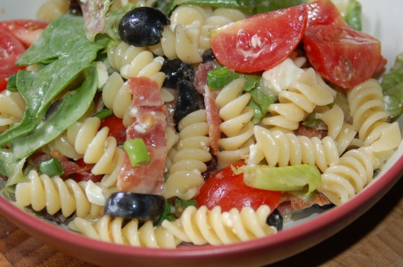 BLT Pasta Salad with Feta & Olives