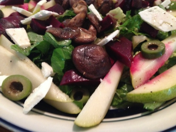 Fall salad with mushrooms, beets and pears.
