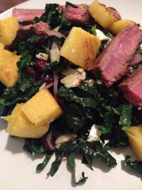 Lemony Kale Salad with Polenta Croutons and Flank Steak